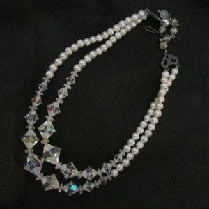 Vintage Crystal & Faux Pearls Beaded Necklace